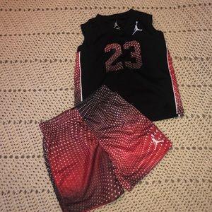 Boys Jordan sleeveless shirt and shorts